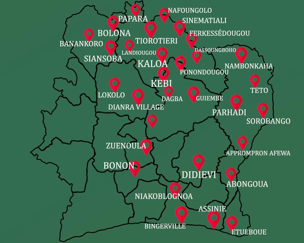 situation géographique des stations-services de sifo énergie sur la carte de la côte d'Ivoire